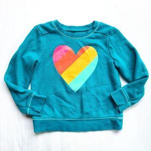 CAT & JACK Rainbow Heart Sweatshirt 4t